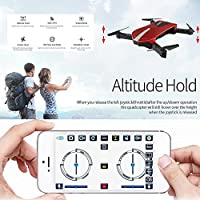 Foldable Drone Mini, FOXFF JD-18 Selfie Drone with Camera Live Transmission WIFI FPV Mobile Phone APPControl G-sensor Control, Voice Control, Automatic Hover 3D Flip Stunt Headless Mode Suitable for all Level Pilots, 2MP HD Camera, 1 Battery,Red