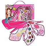 Kinderschminke Set, Schminkset für Mädchen, waschbar Kosmetik Schminkspielzeug Prinzessin Make-up Kit für Kinder Geschenk -