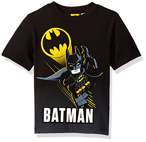 DC Comics Boys Lego Batman T-Shirt (Batman Fly, Black, 5/6)