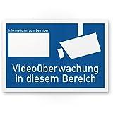 Videoüberwachung Kunststoff Schild nach DIN 33450 (30 x 20cm), Warnhinweis, Hinweisschild videoüberwacht - Infozeichen mit Informationen Betreiber, Hinweis auf Videoüberwachung - Datenschutz BDSG