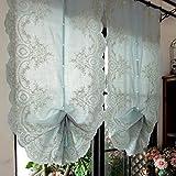 EQEQ Silk Road Raffrollos Kann die Partition Stickerei Vorhang Dekorativen Volants für Wohnzimmer Schlafzimmer Esszimmer - Blau 65 x 175 cm (26 x 69 Zoll)