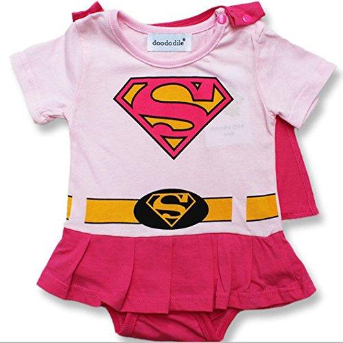 Rosa Supergirl 12-18 Monate Baby Kleinkind Mädchen Spielanzug Party Spiel Kleid Outfit