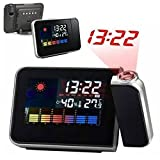 #5: A2zonlineking Projection Alarm Clock Calendar Digital Weather Forecast LCD screen Snooze Alarm