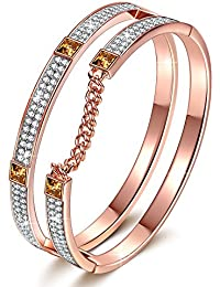 "J NINA ""London Impression"" Rose-Gold Plated Women Bangle Bracelet with Clear SWAROVSKI® crystals Pave, Women Bangle Jewellery"