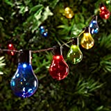 Cadena Solar de 10 Bombillas con LED Multicolor para Exteriores de Lights4fun