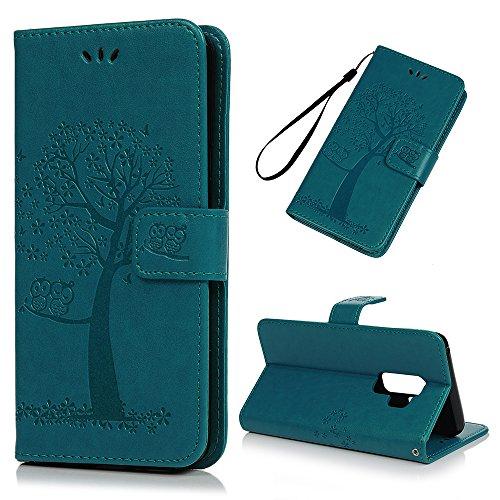 Mlorras Hülle für Samsung Galaxy S9 Plus, Geprägter Eule Baum Schnalle vorne Leder Handyhülle Klappbares Brieftasche Schutzhülle Wallet Case Cover mit Integrierten Kartensteckplätzen Blau -