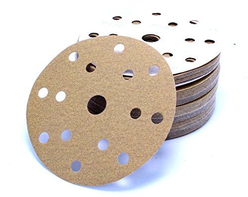 Preisvergleich Produktbild 50 Stück 150 mm Exzenter Schleifscheiben P320 Körnung , 15 Loch, gold Film , Haft Klett Schleifpapier