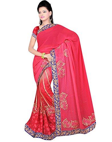 H.Kumar Sarees Womens Net & Brasso Lehenga Saree (1005_Pink_Free size)
