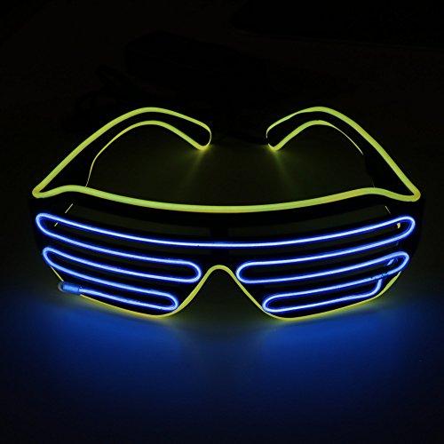 OS Leuchtbrille LED, farbintensiv und auffallend - Partyzubehör für Rave, Disco, Club, Festivals, Kostümpartys, Fasching, Mottoparty, Maskerade mit Batterie Controller Farbe blau gelb