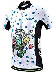 FreeFisher blanco con lunares azules Jersey infantil de ciclo respirable fresco ropa maillot de ciclismo para niños