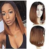 Zanawigs 7A Brésilien vierges Cheveux humains courte Bob Perruque lace front pour femme noire droites Bob Coupe Perruques 130% Densité Ombre Couleur