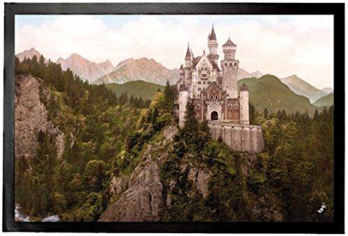 1art1 94113 Schloß Neuschwanstein - Das Märchenschloss Um 1900 Fußmatte Türmatte 60 x 40 cm (Neuschwanstein Schloss Poster)
