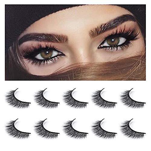 Neflyon 3D Mink Eyelash Reusable Long and Natural Makeup Natural 100% Handmade Individual Lashes 5 Pair Package