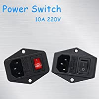 91ai-store 10A 220V Power Switch AC Part Suitable For Makerbot Suitable For Ultimaker 3 in 1 Fuse Supply Socket Outlet Triple 3D Printers Parts