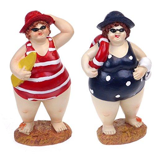 Big & beautiful Paar Fat Beach Belle Lady Schwimmer–Badezimmer Ornaments–Humorvolle Badenden Paar Figuren–17cm (Beach Belle Bademode)