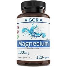Citrato de magnesio 1000 mg 120 cápsulas para 2 meses - Alivia el cansancio y la