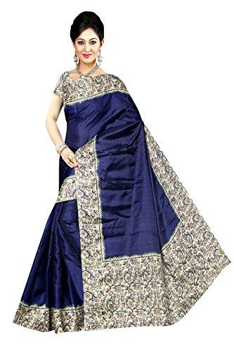 Winza Designer Cotton Saree With Blouse Piece (MANIPURI 11004_Beautiful Navy Blue_Free Size)