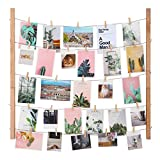 SONGMICS Bilderrahmen Fotowand, DIY Bilderrahmen Collage, Massivholz, Fotowand mit 5 Hanfschnüren und 25 Kleinen Holzklammern, für Memos, Postkarten, Bilder, RPF61YL