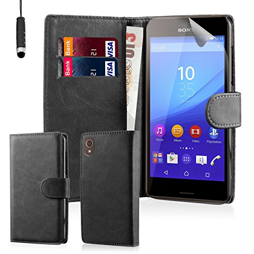 32nd® Schutzhülle handytasche im Brieftaschenstil aus PU-Leder, für Sony Xperia M5, inklusive displayschutzfolie, reinigungstuch und eingabestift - Schwarz