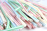 AND-Generic Set of 100 Plastic Drinking Straws with Bendable Neck and Colored Stripes.
