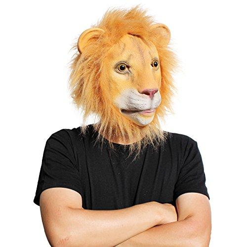PartyCostume Deluxe Neuheit-Halloween-Kostüm-Party-Latex-Tierkopf-Schablone Masken Die Löwen