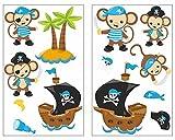 plot4u 13-Teiliges Piraten Affen Blau Wandtattoo Set Kinderzimmer Babyzimmer Piratenschiff in 5 Größen (2x16x26cm Mehrfarbig)