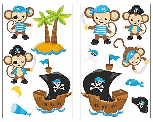 Preisvergleich Produktbild 13-teiliges Piraten Affen Blau Wandtattoo Set Kinderzimmer Babyzimmer Piratenschiff in 5 Größen (2x16x26cm mehrfarbig)