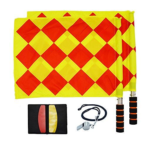 Fußball Schiedsrichter Kit einschließlich Whistle, Flagge, rot und gelb der Schiedsrichter Karte, den Fußball Match Pocket Record.