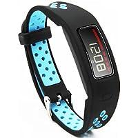 Woodln Smartwatch Recambio Muñeca Reemplazo Correa para Garmin Vivofit Fitness Activity Tracker (BLACK BLUE)