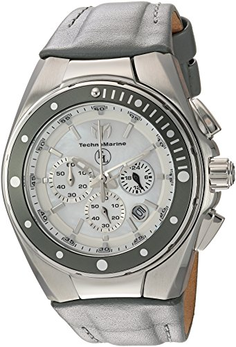Technomarine Women's 'Eva Longoria' Quartz Stainless Steel and Leather Casual Watch, Color:Grey (Model: TM-416014)