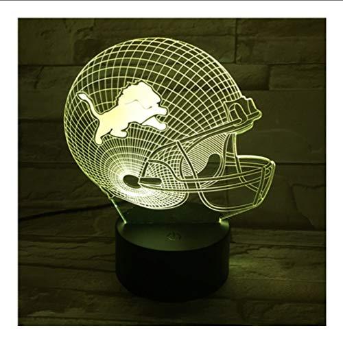 Mmzki Nfl Lions Rugby Helm Usb 3D Lampe 7 Farben Touch Schlafzimmer Lichter Atmosphäre Dekoration Licht Familie Vater Geschenke -