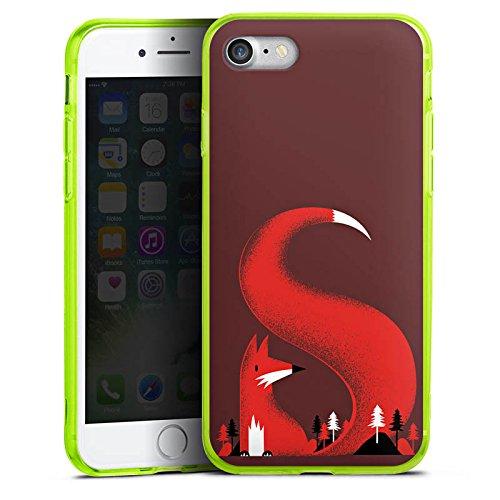 Apple iPhone 7 Silikon Hülle Case Schutzhülle Fuchs Wald Natur Silikon Colour Case neon-grün