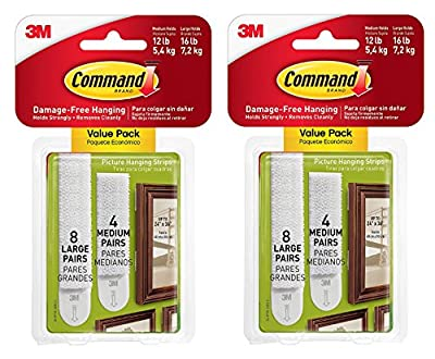 3M Command Picture Hanging Strips – Removable Hanging Strips for Large Picture Frames – Value Pack - 4 Pairs (Medium), 8 Pairs (Large), Multicolor