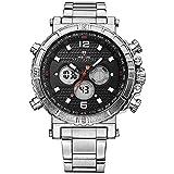 Weide Sport Digital watch-men 's Fashion Military mehrere Funktion, Alarm, Timer, Kalender, Quarz, Edelstahl Band (Silber/Schwarz)