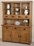 Cotswold Rustic Solid Oak Large Dresser Dining Furniture, (1,390 x 425 x 1,892 cm)