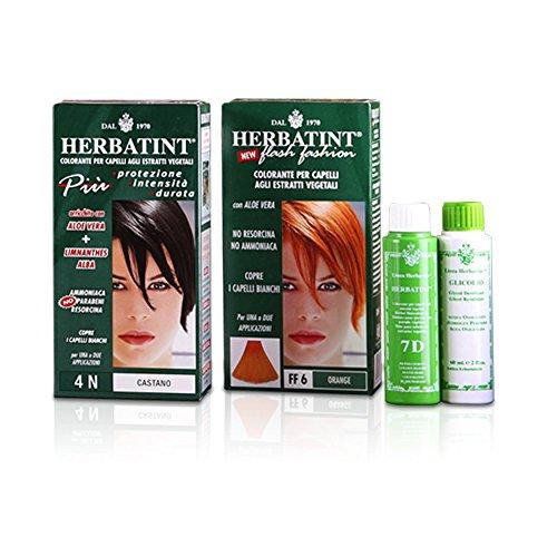 Tinta per capelli colorazione permanente senza ammoniaca naturale herbatint 135 ml n. 6 d colore biondo scuro dorato