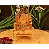 Collectible India Metal Gold Plated ladoo Gopal Singhasan Pooja Chowki mandir for God Thakur Puja Idol Peacock Design Decoration Items (Size 6.5 x 4 Inches)
