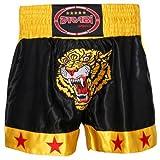 Farabi Tiger Pantaloncini da Muay Thai, Uomo, Nero/Giallo, S