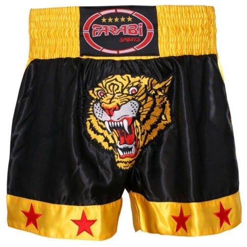 FARABI Pantalón Corto Muay Thai o Kickboxing, con diseño de Tigre