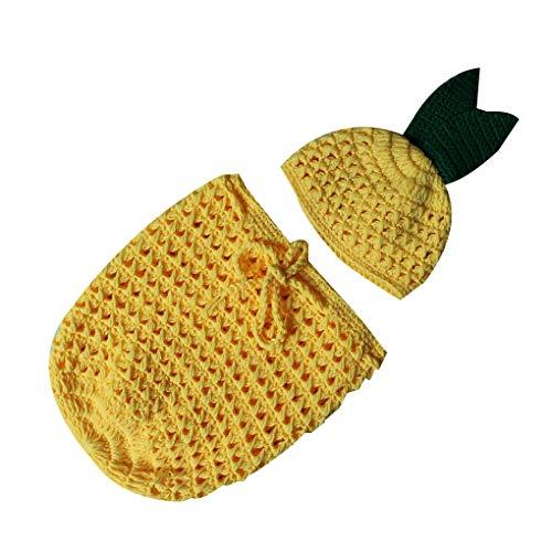 e Ananas-Baby-handgemachter Häkelarbeit gestrickte Fotosession Outfits Schlafsäcke Hat Set ()