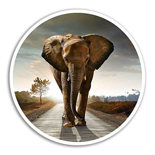 2 x 10 cm elefante africano pegatinas de vinilo - África Etiqueta de equipaje portátil # 8240 (10 cm de ancho)