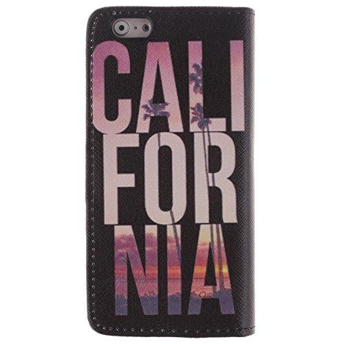 """MOONCASE iPhone 6 Plus Case Dessin Coloré Coque en Cuir Haute Qualité Portefeuille Housse de Protection Étui à rabat Case pour iPhone 6 Plus (5.5"""") -LK22 ST24"""