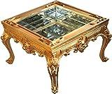 Prunkvoller Casa Padrino Barock Couchtisch Gold verspiegelt mit aufklappbaren Glasdeckel 67 x 67 cm Unikat- Wohnzimmer Salon Tisch Möbel