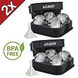 2x4 Flamen XXL Eiskugelform – BPA freie Silikon-Eisform mit Deckel – formt runde Eiswürfel mit 4x4,5 cm Durchmesser – Ideal für Whiskey, Cocktails und alkoholfreie Kaltgetränke