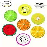 Kanggest 7Pcs Patrón de Rebanada Fruta Posavasos de Silicona para Vino Vidrio Café y Bebidas Decoración de Hogar Artesanía de Bricolaje