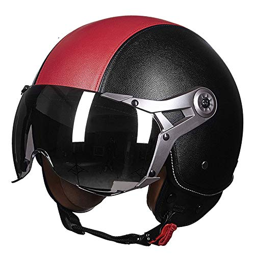 Harley Motorcycle Helmet Half Face Helmet Goggles Fresh Breathable Adult Leather Open Face Helmet Skateboard Protective Gear for Men and Women,BlackRed,XL(22.83~23.62)