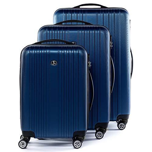 FERGÉ Kofferset Hartschale 3-teilig Toulouse Trolley-Set - Handgepäck 55 cm, L und XL 3er Set Hartschalenkoffer Roll-Koffer Reisekoffer mit 4 Rollen ABS blau