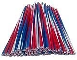 USA Jumbotrinkhalme Rot Weiss Blau Strohhalm aus Kunststoff, Trinkhalme in Übergröße (Maße: ca. Ø 8 mm x 250 mm), Menge: 500 Stück