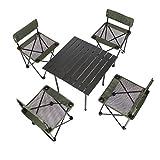 YJchairs Stühle Klapptisch Angeln Ergonomie Tragbare Gemütliche Starke Grüne Hocker mit Rückenlehne Für Camping Strand Park Barbecue