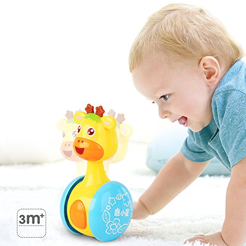 Qiyun Tumbler Toy Cartoon Giraffe Tumbler Doll Roly-poly Baby Toys Cute Rattles Ring Bell Newborns 3-12 Month Early Educational Toy 517jR0MMs0L